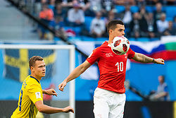 July 3, 2018 - St Petersburg, Russia - 180703 Viktor Claesson of Sweden and Granit Xhaka of Switzerland during the FIFA World Cup round of 16 match between Sweden and Switzerland on July 3, 2018 in ST Petersburg..Photo: Petter Arvidson / BILDBYRÃ…N / kod PA / 87748 (Credit Image: © Petter Arvidson/Bildbyran via ZUMA Press)