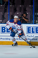 PENTICTON, CANADA - SEPTEMBER 8: Caleb Jones #82 of Edmonton Oilers passes the puck against the Calgary Flames on September 8, 2017 at the South Okanagan Event Centre in Penticton, British Columbia, Canada.  (Photo by Marissa Baecker/Shoot the Breeze)  *** Local Caption ***