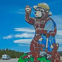 A famed road sign of Smokey Bear warns tourist of forest fire danger along U.S. Highway 395 in the eastern Sierra Nevada near Mammoth Lakes, California.