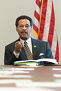 Image of Congressman Emanuel Cleaver II speaking at a round table discussion.