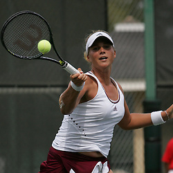 Carly Gullickson of the United States returns a shot by Margalita Chakhnashvili of the country of Georgia during the finals of singles competition at the AT&T $25,000 Challenger USTA Pro Women's Tennis Circuit Tournament played on March 30, 2008 at Oak Knoll Country Club in Hammond, LA. Gullickson defeated Margalita in three sets 6-4, 4-6, 6-4 to win the AT&T 25K Challenger...