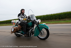 Panhead Fred (Stephen Keith) riding his 1948 Indian Chief in the Cross Country Chase motorcycle endurance run from Sault Sainte Marie, MI to Key West, FL (for vintage bikes from 1930-1948). Stage 3 from Milwaukee, WI to Urbana, IL. USA. Sunday, September 8, 2019. Photography ©2019 Michael Lichter.