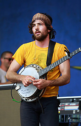 25 April 2014. New Orleans, Louisiana.<br /> Scott Avett plays with the Avett Brothers at the New Orleans Jazz and Heritage Festival. <br /> Tania Elizabeth<br /> Photo; Charlie Varley/varleypix.com