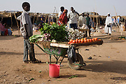 A young boy sells fruit from a wheelbarrow at the Abu Shouk refugee camp 4 sq km Abo Shouk refugee camp which is (disputedly) home to 38,000 displaced persons and families on the outskirts of the front-line town of Al Fasher (also spelled, Al-Fashir) in north Darfur.