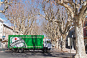 Montagnac. Heineken. Languedoc. Truck with promotional advertising. France. Europe.