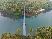 Aerial view of Sadolxem bridge over Talpon river in Canacona in South Goa, India.