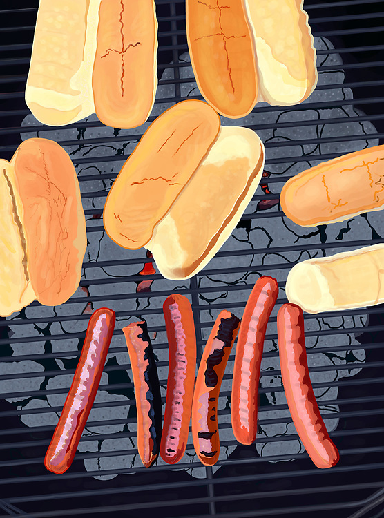 Six Hot Dogs and buns grilling on a back yard Weber barbecue.