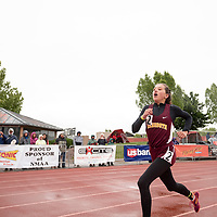 Rehoboth Lynx freshman Anna Huizinga, pushes around the final turn during the 1600m race to win the NMMA 2A Girls State Championship in Albuquerque on Friday.