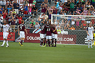 August 4, 2012: Colorado Rapids celebrate after midfielder Joseph Nane (5) scored his first MLS goal in the first half against Real Salt Lake at Dick's Sporting Goods Park in Denver, Colorado.  The Rapids would go on to win 1-0