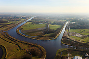 Nederland, Noord-Brabant, Aarle-Rixtel, 10-01-2011;.Zuid-Willemsvaart en  Wilhelminakanaal ten noorden van Aarle-Rixtel. Zuid-Willemsvaart and  Wilhelminakanaal north of the village of Aarle-Rixtel,  .luchtfoto (toeslag), aerial photo (additional fee required).foto/photo Siebe Swart