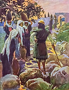 SAUL QUESTIONS THE YOUNG MAIDENS. I Samuel ix 11 And as they went up the hill to the city, they found young maidens going out to draw water, and said unto Aare Is the seer here? From the book ' The Old Testament : three hundred and ninety-six compositions illustrating the Old Testament ' Part II by J. James Tissot Published by M. de Brunoff in Paris, London and New York in 1904