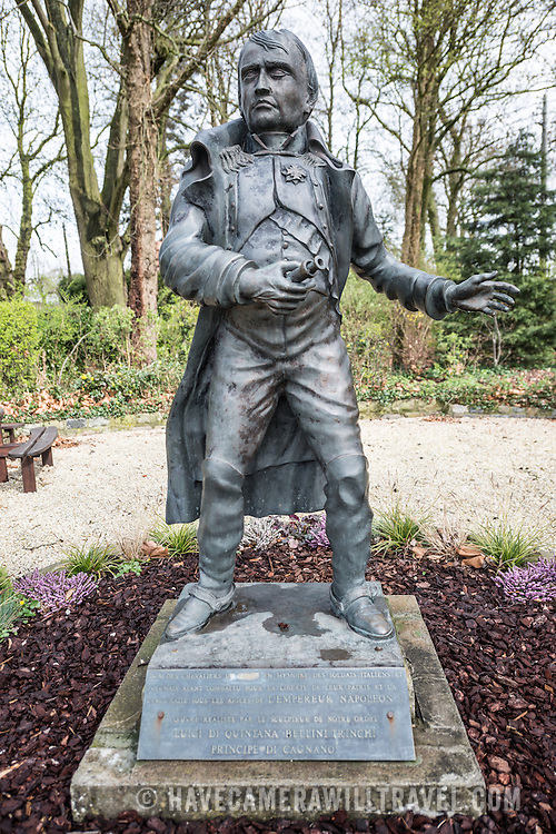 A statue of Napoleon Bonaparte in the garden at the farmhouse known as Ferme du Caillou. Next to the field where the Battle of Waterloo took place in 1815, the farmhouse is famous as the place where Napoleon spent the night before the battle. It is now a museum.