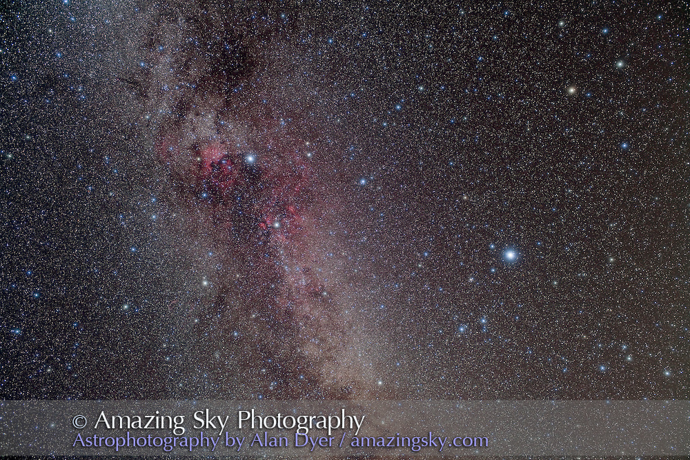 Cygnus and Lyra area of summer Milky Way, including the Kepler field for extra-solar planet search. A stack of 2 x 8 minutes unfiltered + 2 x 8 minutes with Kenko Softon A filter, all with 35mm lens at f/4 and Canon 5DMkII at ISO 400. Taken from home Sept. 13, 2009.