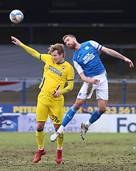 Mark Beevers of Peterborough United in action with Joe Pigott of AFC Wimbledon - Mandatory by-line: Joe Dent/JMP - 20/02/2021 - FOOTBALL - Weston Homes Stadium - Peterborough, England - Peterborough United v AFC Wimbledon - Sky Bet League One
