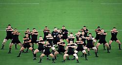 New Zealand players perform the Haka ahead of the 2019 Rugby World Cup Pool B match at International Stadium Yokohama, Yokohama City.