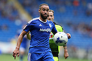Jazz Richards of Cardiff city in action. EFL Skybet championship match, Cardiff city v Reading at the Cardiff city stadium in Cardiff, South Wales on Saturday 27th August 2016.<br /> pic by Andrew Orchard, Andrew Orchard sports photography.