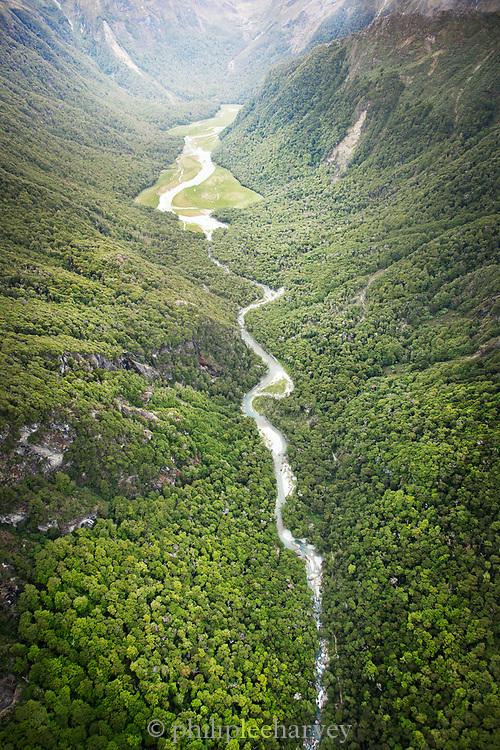 Valley between Humboldt Mountains in New Zealand