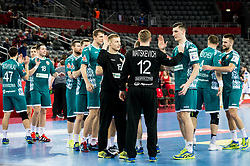 P?layers of Belarus celebrate after winning during handball match between National teams of Serbia and Belarus on Day 7 in Main Round of Men's EHF EURO 2018, on January 24, 2018 in Arena Zagreb, Zagreb, Croatia.  Photo by Vid Ponikvar / Sportida