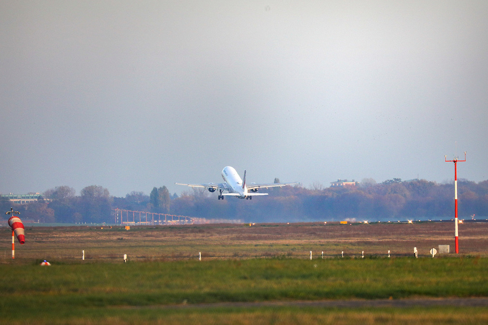 An AIRFRANCE jet takes-off at Tegel Airport (TXL), a final departure made from the historic airport, Berlin, Germany, November 8, 2020. After more than 60 years Berlin's tiny northern airport is set to shut down all operations, with a final departure flight by AirFrance to Paris. (Photos by Omer Messinger)