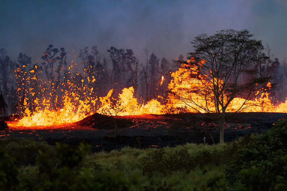 Kilauea's east rift zone, fountains feed massive rivers of pahoehoe that stretched to the sea, consuming everything in its path.