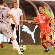MEADOWLANDS, NEW JERSEY- August 7: Lucas Vázquez #17 of Real Madrid in action during the Real Madrid vs AS Roma International Champions Cup match at MetLife Stadium on August 7, 2018 in Meadowlands, New Jersey. (Photo by Tim Clayton/Corbis via Getty Images)