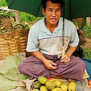 Seller at Inle rural market
