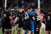 Ardie Savea of New Zealand and Ben Smith of New Zealand celebrating after beat wales team the Rugby World Cup bronze final match between New Zealand and Wales,  Friday, Nov, 1, 2019, in Tokyo. New Zealand defeated Wales 40-17.( Flor Tan Jun/Espa-Images-Image of Sport)