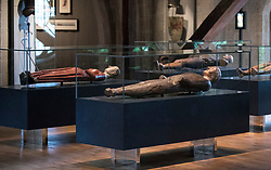 © Licensed to London News Pictures. 29/05/2018. London, UK. Funeral effigies including (L) Catherine de Valois, wife of King Henry V, from 1437 and King Edward III, 1377 (front), are laid out in the new Queen's Diamond Jubilee Galleries of Westminster Abbey - now open to the public for the first time. The recently finished galleries situated in 13th century triforium, 52 feet above the abbey floor, will display treasures not seen by the public before and tell the story of abbey's thousand-year history. Photo credit: Peter Macdiarmid/LNP
