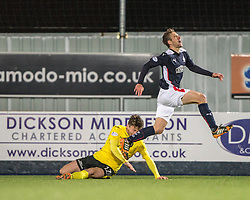 Falkirk's Luke Leahy brought down by  Livingston's Michael McKenna.<br /> Falkirk 0 v 0  Livingston, Scottish Championship game played 21/10/2014 at The Falkirk Stadium.