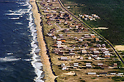 Aerial of houses at the shoreline, Nags Head, NC. USA.