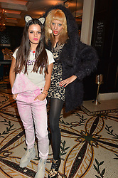 Left to right, JOY VIELI and BIP LING at a dinner hosted by Amy Molyneaux and Percy Parker of fashion label PPQ to celebrate the PPQ AW 2015 collection 'Persephone' held at Braserie Chavot, 41 Conduit Street, London on 22nd February 2015.