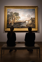"Christie's, St James, London. Two women admire the painting as Christie's in London announce the sale of a work of genius by John Constable, the full scale six-foot ""sketch"" for ""View on the Stour near Dedham"" painted between 1821 and 1822, which is expected to fetch between £18-22 million at auction."