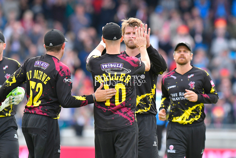 Wicket - Corey Anderson of Somerset celebrates taking the wicket of Luke Wright of Sussex during the Vitality T20 Finals Day semi final 2018 match between Sussex Sharks and Somerset County Cricket Club at Edgbaston, Birmingham, United Kingdom on 15 September 2018.
