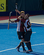 Wimbledon's Steven Ebbers and Phil Ball celebrate their eighth goal. Surbiton v Wimbledon - Now: Pensions Finals Weekend, Lee Valley Hockey & Tennis Centre, London, UK on 11 April 2015. Photo: Simon Parker