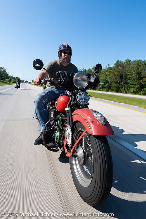 Matt Miller riding his 1947 Harley-Davidson Model U Flathead in the Cross Country Chase motorcycle endurance run from Sault Sainte Marie, MI to Key West, FL (for vintage bikes from 1930-1948). Stage 4 saw a 315 mile ride from Urbana, IL to Bowling Green, KY USA. Monday, September 9, 2019. Photography ©2019 Michael Lichter.