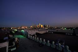 Houston, Texas skyline from an artist's loft in early evening.