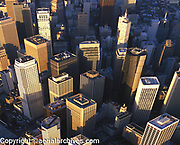 aerial photograph of skyscrapers in the San Francisco financial district in the early morning; San Francisco, California