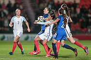 Alex Scott (England) and Gaetane Thiney (France) battle for the ball in the final moments of the game during the International Friendly match between England Women and France Women at the Keepmoat Stadium, Doncaster, England on 21 October 2016. Photo by Mark P Doherty.
