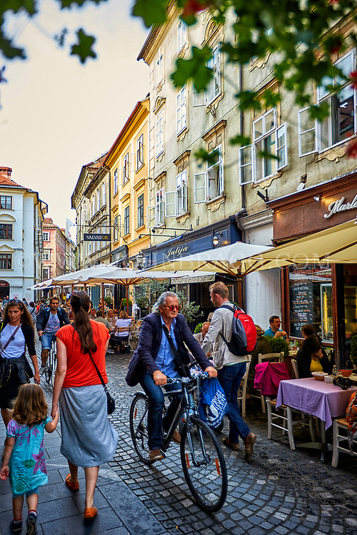 Street scene in the town of Ljubljana, Slovenia
