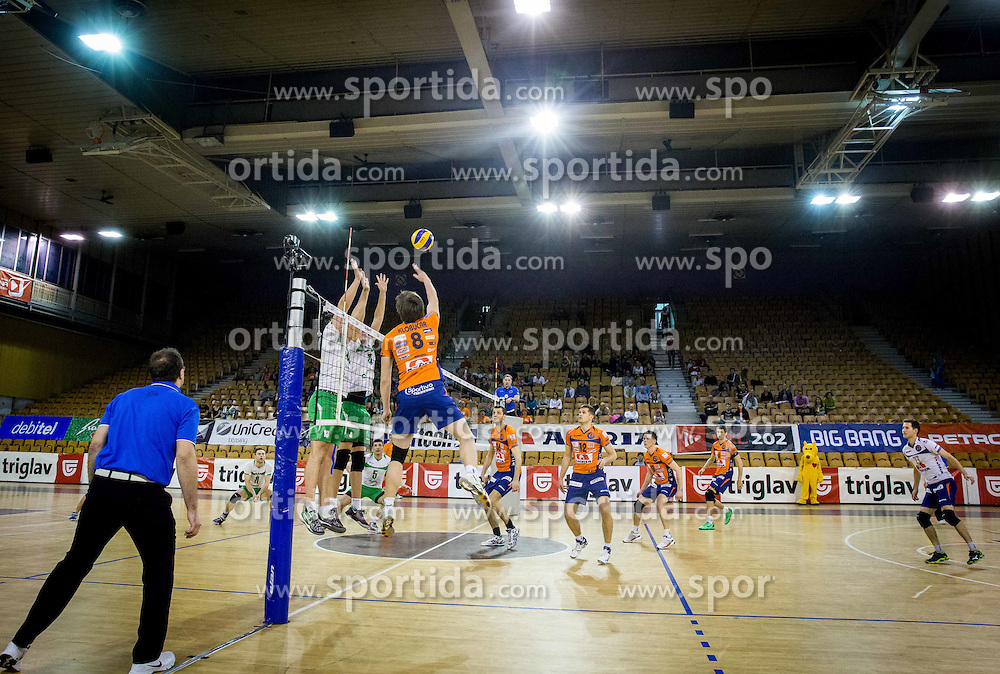 Jan Klobucar of ACH during volleyball game between OK ACH Volley and OK Panvita Pomgrad in 1st final match of Slovenian National Championship 2013/14, on April 6, 2014 in Arena Tivoli, Ljubljana, Slovenia. Photo by Vid Ponikvar / Sportida