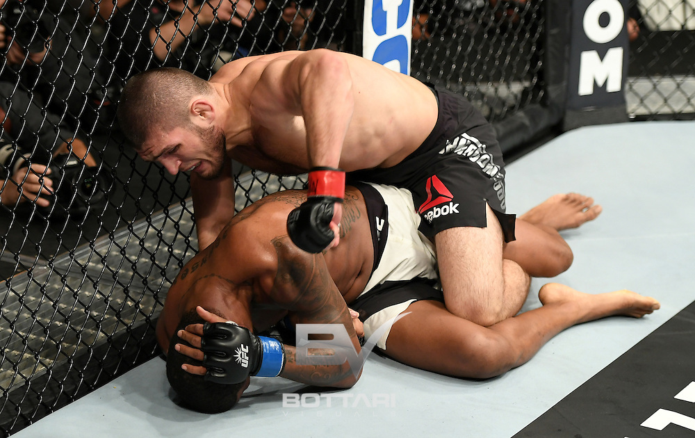 NEW YORK, NY - NOVEMBER 12:  Michael Johnson of the United States (bottom) fights against Khabib Nurmagomedov of Russia in their lightweight bout during the UFC 205 event at Madison Square Garden on November 12, 2016 in New York City.  (Photo by Jeff Bottari/Zuffa LLC/Zuffa LLC via Getty Images)