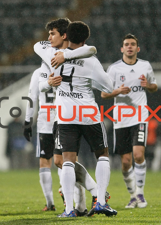 Besiktas's Manuel Fernandes celebrate his goal with team mate during their Turkey Cup matchday 3 soccer match Besiktas between Gaziantepspor BSB at the Inonu stadium in Istanbul Turkey on Wednesday 11 January 2012. Photo by TURKPIX