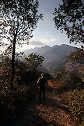 Hiking in the late afternoon sun near San Pedro de Bedoya, near Potes in the south-eastern area of the Picos de Europa national park, northern Spain