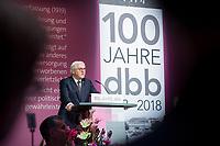 29 NOV 2018, BERLIN/GERMANY:<br /> Frank-Walter Steinmeier, Bundespraesident, haelt eine Rede, Festakt mit Bundespraesident Steinmeier anl. des 100. Gruendungsjubilaeums des Beamtenbunds, dbb forum berlin<br /> IMAGE: 20181129-01-119<br /> KEYWORDS;´: Gründung, Jubiläum,