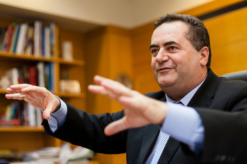 Israel's Minister of Transportation Yisrael Katz gestures as he speaks, during an interview at the Ministry of Transportation in Jerusalem, Israel, on April 23, 2013.
