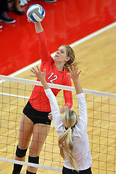 28 September 2014:  Emily Schneider during an NCAA womens volleyball match between the Evansville Purple Aces and the Illinois State Redbirds at Redbird Arena in Normal IL