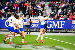 Romain Ntamack (FRA) celebrate his try during the Six Nations rugby union tournament match between France and Italy at the stade de France, in Saint Denis, on February 9, 2020. Photo by Julien Poupart/ABACAPRESS.COM