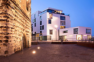 view to the art gallery Heinz Holtmann in the Rheinau harbor, on the left the Bayentower, Cologne, Germany.<br /> <br /> die Kunstgalerie Heinz Holtmann im Rheinauhafen, links der Bayenturm, Koeln, Deutschland.