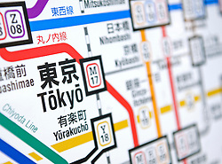 Detail of subway map in Tokyo Japan