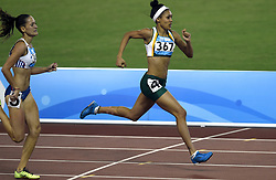 NANJING, Aug. 25, 2014  Gold medalist Gezelle Magerman (R) of South Africa competes during women's 400m hurdles final at the Nanjing 2014 Youth Olympic Games in Nanjing, east China's Jiangsu Province, Aug. 25, 2014. (Credit Image: © Xinhua via ZUMA Wire)